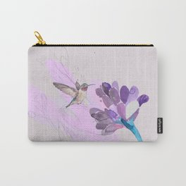 Hummingbird with purple flower watercolor Carry-All Pouch