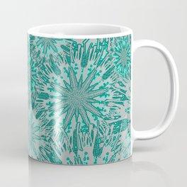 Teal & Aqua Floral Fireworks Abstract Coffee Mug