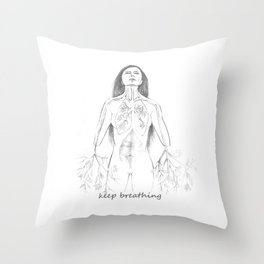Keep breathing Throw Pillow