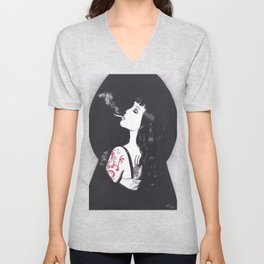 Realism Charcoal Drawing of Masuimi Max with Red Dragon Tattoo Unisex V-Neck