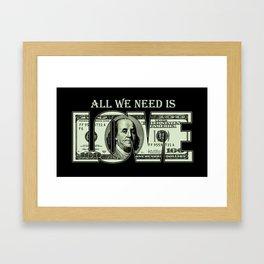 $100 Dollar Bill, Benjamin, Benji, Ben, Franklin, Love Money - Pop Culture Framed Art Print