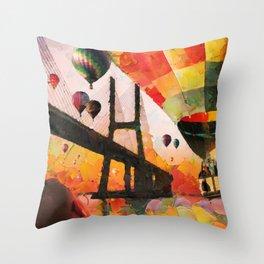 Hot air balloons over bridge and bay Throw Pillow