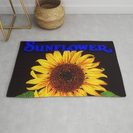 Vintage Blue Orangedale Sunflower Crate Decorative Art Label Poster for kitchen or dinning room Rug