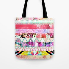 Pastel Abstract Floral Aztec Stripes Girly Pattern Tote Bag
