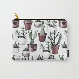 Happy Cacti in Rose Gold Pots Pattern Carry-All Pouch