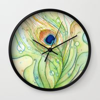 peacock feather Wall Clocks featuring Peacock Feather by Olechka