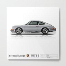 Porsche 1972 911T Silver Metal Print