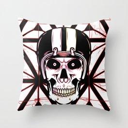 the skull of the dead Biker Throw Pillow