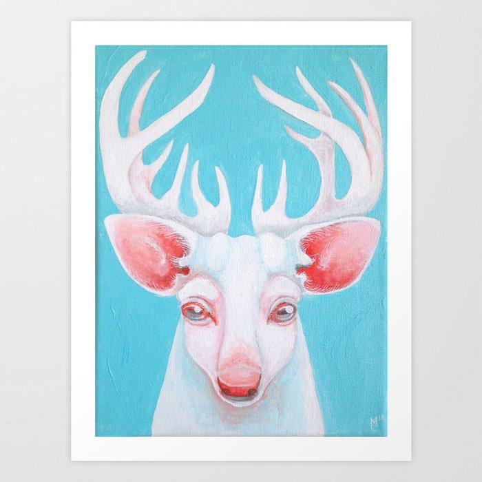 Portrait of a White Stag Art Print
