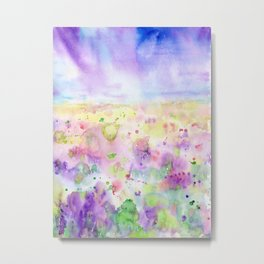 Watercolor abstract meadow Painting Metal Print