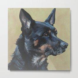 Australian Kelpie portrait dog art from an original painting by L.A.Shepard Metal Print