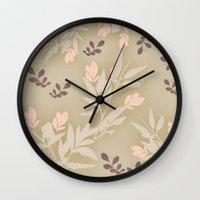 vintage flowers Wall Clocks featuring vintage flowers by Julia Tomova