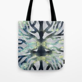 Yoga in Translucent Agate and Mother of pearl Tote Bag