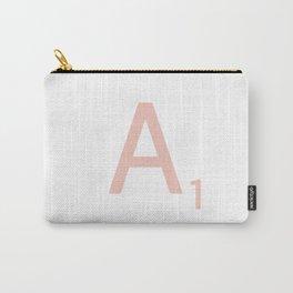Pink Scrabble Letter A - Scrabble Tile Art Carry-All Pouch