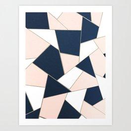 Navy Blue Blush White Gold Geometric Glam #1 #geo #decor #art #society6 Art Print