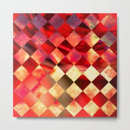 Pattern of diamonds in red and yellow nature colors Metal Print