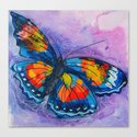 Butterfly_ Blue and violet background, 24 X 24 acrylic original artwork by lucbenoitfineart