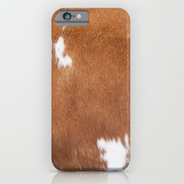 Light Brown and White Cowhide, Cow Skin Pattern, Farmhouse Decor iPhone Case