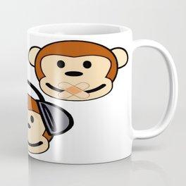 Illustration of Cartoon Three Monkeys - See, Hear, Speak No Evil Coffee Mug