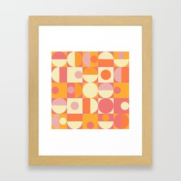 Thoroughly Modern Pink And Orange Geometric Design Framed Art Print