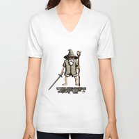 gandalf V-neck T-shirts featuring Gandalf genial by le.duc