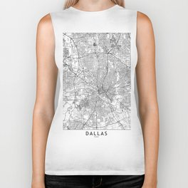 Dallas White Map Biker Tank