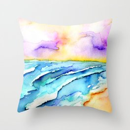 violet clouds - beach at sunset Throw Pillow