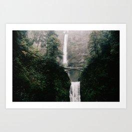 Multnomah Falls Waterfall in October - Landscape Photography Art Print