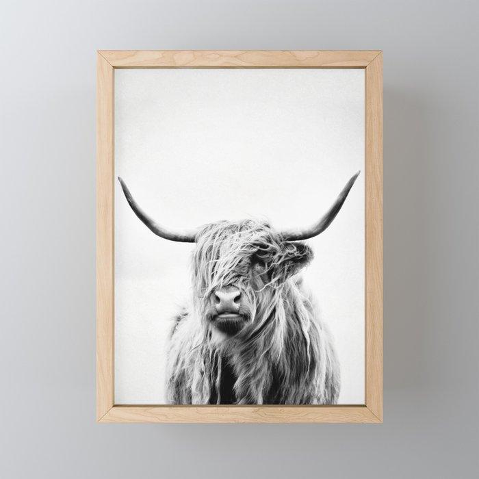 portrait of a highland cow - (vertical) Framed Mini Art Print