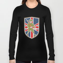 World War One Soldier British Marching Cartoon Shield Long Sleeve T-shirt