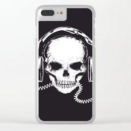 Skull with headphones Clear iPhone Case