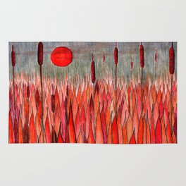Sunset Over the Cattail Field Rug