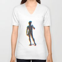 david fleck V-neck T-shirts featuring David  by sandro laliashvili