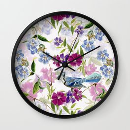 Vintage & Shabby Chic - Blue Jay and Flowers Wall Clock