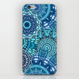 Blue Boho Mandela Pattern 5 iPhone Skin