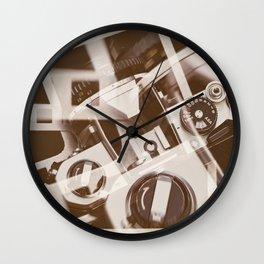 Retro SLR camera on background film Wall Clock