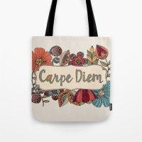 carpe Tote Bags featuring Carpe Diem by Valentina Harper