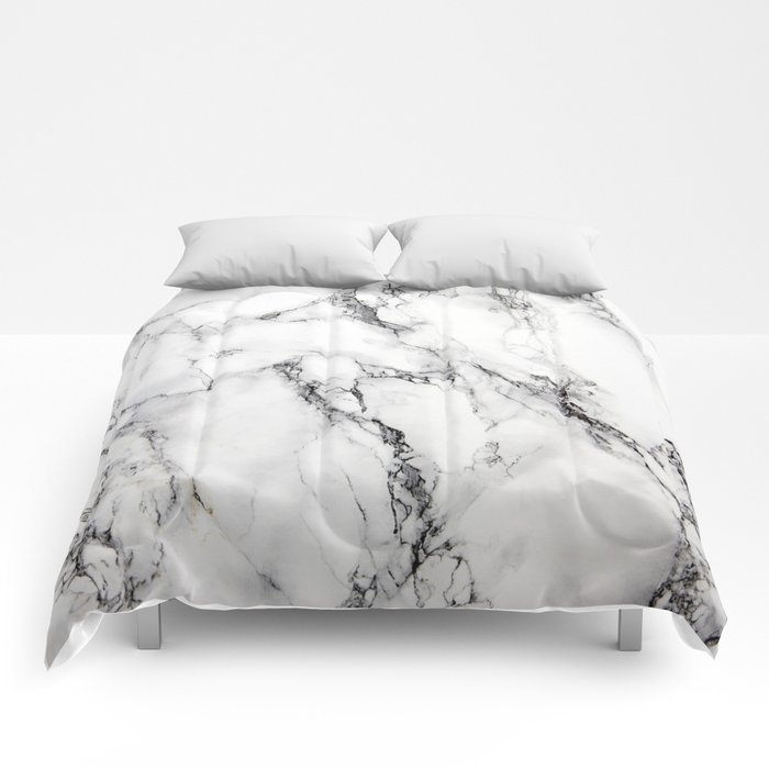 White Marble Texture Comforters By Artonwear Society6