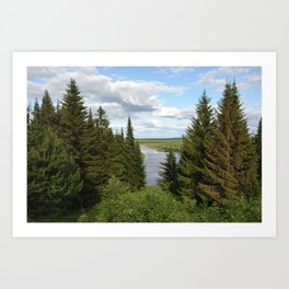 Landscape view on the taiga in Kargort village in Komi Republic of Russia. Art Print