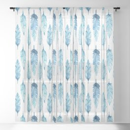 watercolor feathers Sheer Curtain