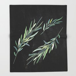 Eucalyptus leaves on chalkboard Throw Blanket