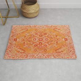 Orange Boho Oriental Vintage Traditional Moroccan Carpet style Design Rug