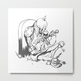 Illustration of a knight  wounded during a medieval battle Metal Print