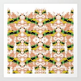 Hippopotamus Yellow/Green Art Print