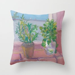 Plants on a Window Sill Throw Pillow