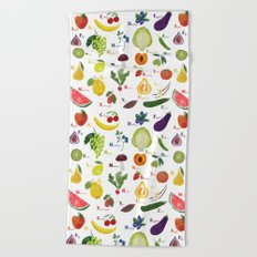 English fruit and vegetables alphabet Beach Towel
