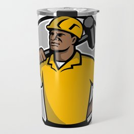 African American Demolition Worker Mascot Travel Mug