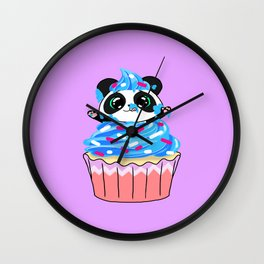 A Panda Popping out of a Cupcake Wall Clock