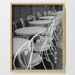 Cafe Tables and Chairs - black and white Serving Tray