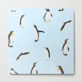 Penguins on Ice Floes Metal Print